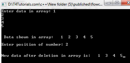 Program to delete selected array elements in C++ (CPP, C Plus Plus) and C with flowchart