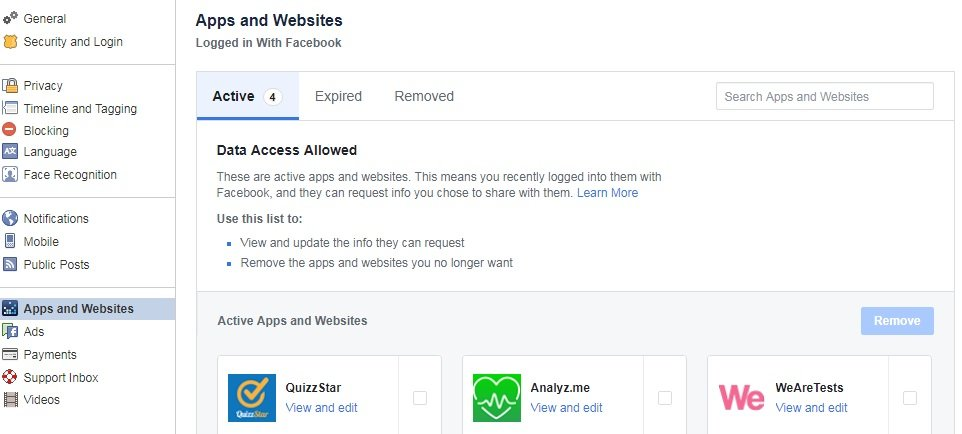 Check that someone else websites or apps accessing your facebook profile or not?
