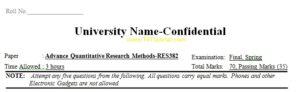 Advance Quantitative Research Methods Universities Past Papers