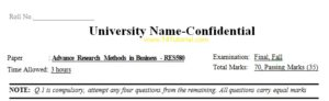 Advance Research Methods in Business Universities Old Papers
