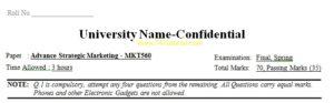 Advance Strategic Marketing Universities Past Papers