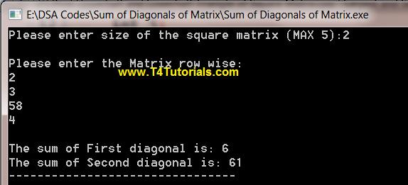 Program to Find Sum of Diagonals of Matrix in CPP (C plus plus)