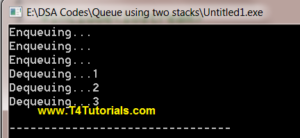 Program to Implement Queue using two Stacks in Data Structures (C plus plus)