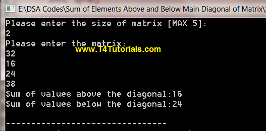 Program to evaluate Sum of Elements Above and Below Main Diagonal of Matrix in CPP (C plus plus)