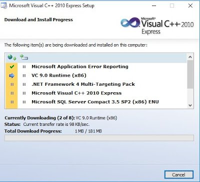 Installation of MS Visual C++ Step 3