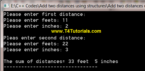 Program for the addition of two distances using structure in CPP (C plus plus)