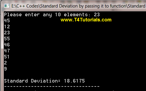 Program to Evaluate Standard Deviation by passing it to function in CPP (C plus plus)