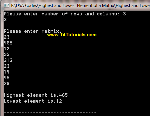 Program to find Highest and Lowest values of a matrix in CPP (C plus plus)