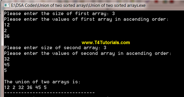 Program to find the union of two sorted arrays in CPP (C plus plus)