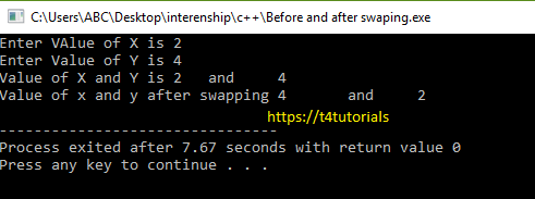 Before and after swapping Program in C++ (C Plus Plus)