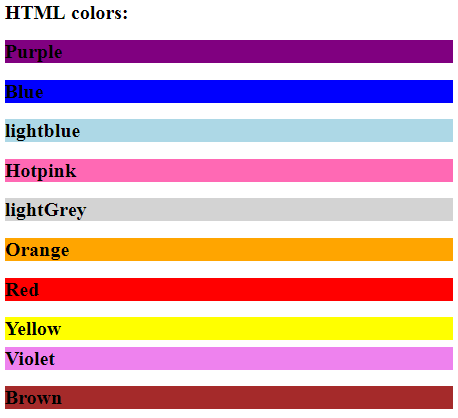Color Names in HTML