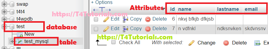 delete update multiple rows together in php msyql