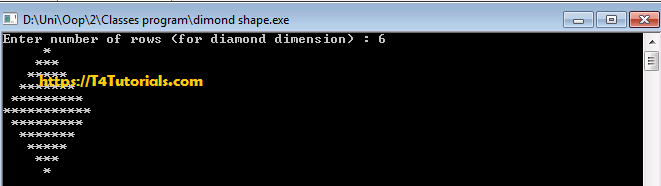 How to Print Diamond Shape with OOP Classes and objects C++