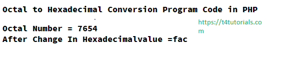Octal to Hexadecimal Conversion Program Code in PHP