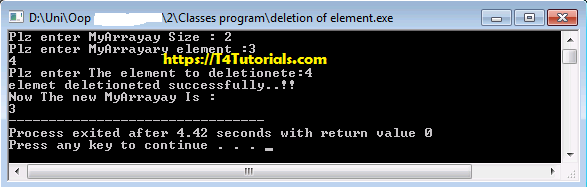 Program to Delete the Array Elements with OOP Classes- Object Oriented Programming