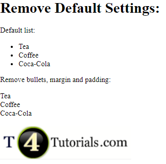 Remove Default Settings in HTML and CSS
