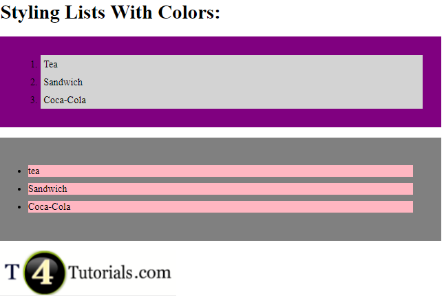 Styling List With Colors in HTML and CSS