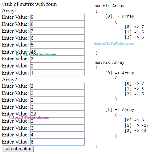Subtraction of two Array Matrix in PHP with Form Values entered by user