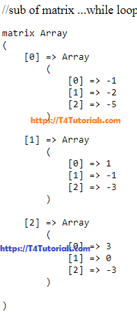 Subtraction of two Array Matrix in PHP with nested For and While Loop
