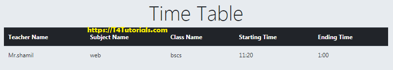 display time table in PHP and MySQL