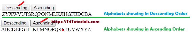 How to show Alphabets in Ascending and Descending Order PHP