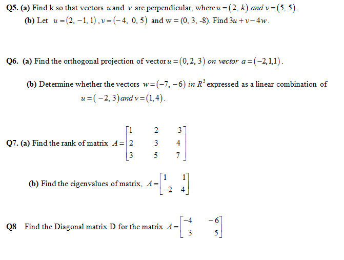 Past Papers of Applied Linear Algebra